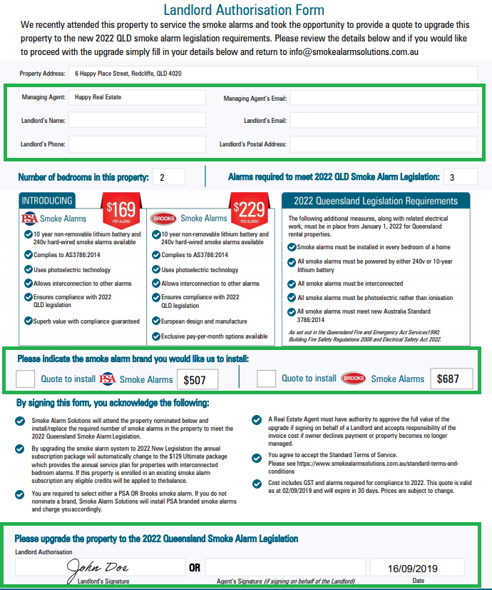 Highlighted Landlord Authorisation Form
